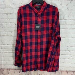 NWOT Nordstrom Mens Shop Plaid Red Blue Shirt